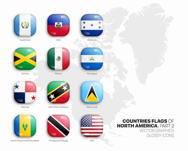 Noord-amerika vlaggen 3d glanzende pictogrammen instellen