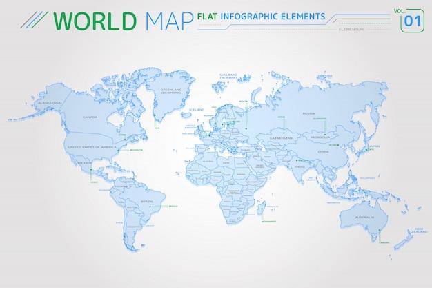 Noord- en zuid-amerika, azië, afrika, europa, australië en oceanië vectorkaarten
