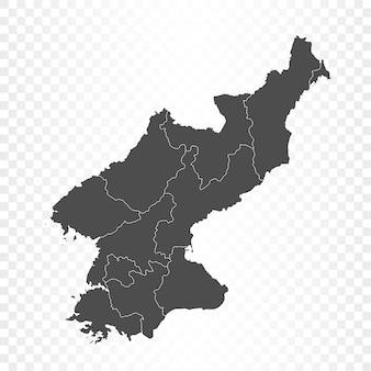Noord-korea kaart geïsoleerde weergave