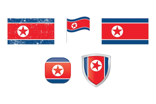 Noord-korea land vlag vector icon set