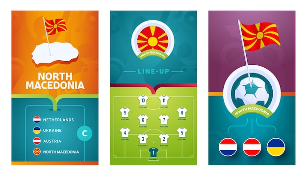Noord-macedonië team europese voetbal verticale banner ingesteld voor sociale media. noord-macedonië groep c-banner met isometrische kaart, speldvlag, wedstrijdschema en opstelling op voetbalveld