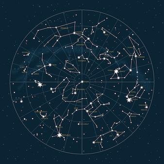 Noordelijk halfrond. sterrenkaart van sterrenbeelden