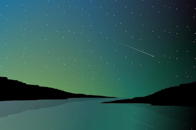 Noordelijke lichte landschap en silhouetbergachtergrond