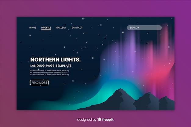 Noordelijke lichten kleurrijke landingspagina