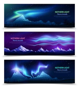 Noorderlicht aurora borealis nachtelijke hemel en landschap 3 kleurrijke realistische horizontale banners set geïsoleerd