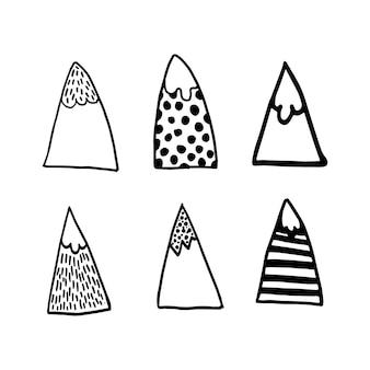 Noords geometrisch ontwerp vector eenvoudige berg in moderne scandinavische stijl