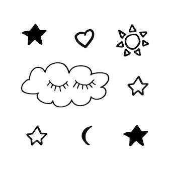 Noords geometrisch ontwerp vector eenvoudige elementenwolk en sterren in moderne skandinavische stijl