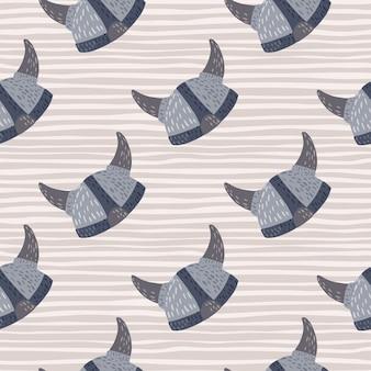 Noords naadloos krabbelpatroon met blauwe vikinghelmen