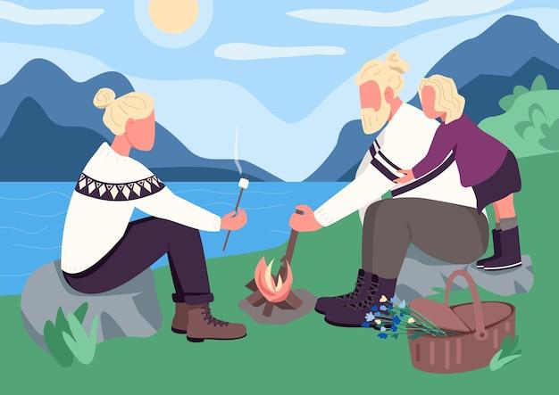 Noordse familie picknick egale kleur illustratie