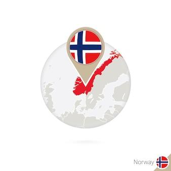 Noorwegen kaart en vlag in cirkel. kaart van noorwegen, de vlagspeld van noorwegen. kaart van noorwegen in de stijl van de wereld. vectorillustratie.