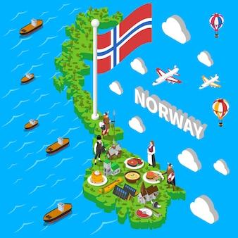 Noorwegen kaart toeristische symbolen isometrische poster