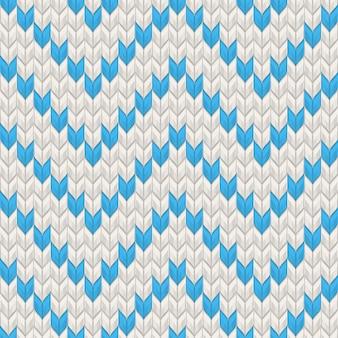 Nordic gebreide textuur blauw op wit naadloze patroon. en omvat ook