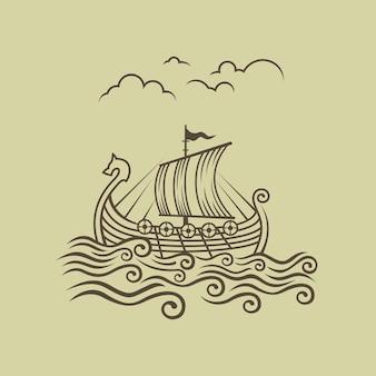 Normandiërs drakkar. viking transportschip. vectorillustratie.