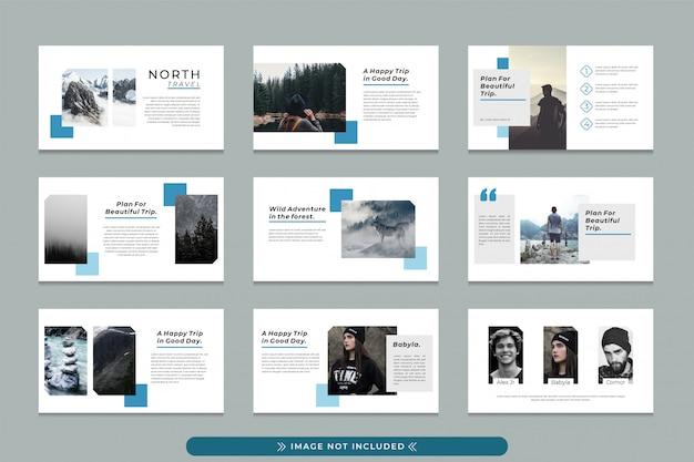 North travel professionele presentatiesjabloon voor zakenreizen, reisbureau met modern, eenvoudig en schoon ontwerp.