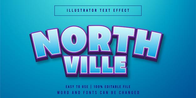 North ville, bewerkbare speltitel teksteffect grafische stijl