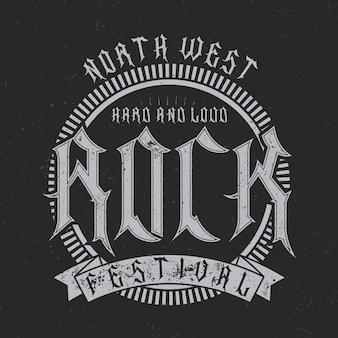 North west rock festival typografie, t-shirt afbeeldingen
