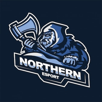 Northern warrior met assen e-sport gaming mascotte logo sjabloon