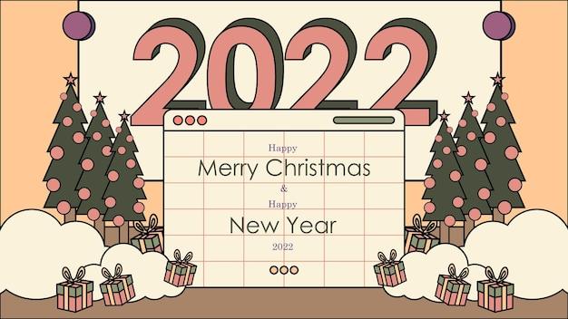 Nostalgische 90's gelukkig nieuwjaar 2022 achtergrond