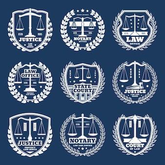 Notariële kantoorpictogrammen, notarisdienst met weegschaal