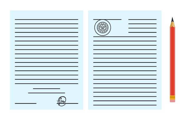 Notaris dienst advertentie. juridisch papieren document of contract geïsoleerd op blauwe achtergrond. kleur vectorillustratie in vlakke stijl.