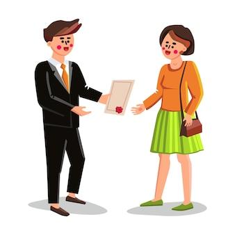 Notaris geven ondertekend document jonge vrouw vector. notaris man geeft meisje client testament, certificaat of overeenkomst met stempel en handtekening. tekens advocaat en lady flat cartoon afbeelding
