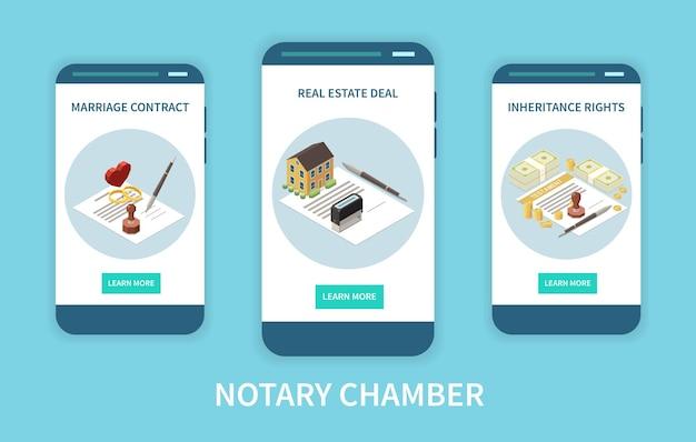 Notaris kamer mobiele app concept illustratie