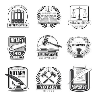 Notaris service notariële kantoor pictogrammen
