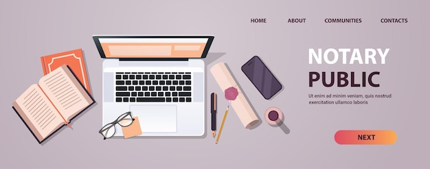 Notaris werkplek met legacy stempel verzegeld document juridisch vertrouwen en openbare pen in de buurt van laptop ondertekening en legalisatie documenten bovenhoek weergave horizontale kopieerruimte