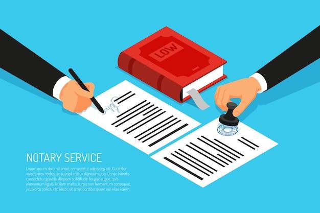 Notarisdienst uitvoering van documenten zegel en handtekening op papier op blauwe isometrisch