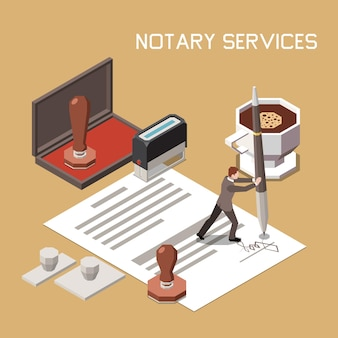 Notarisuitvoering van documenten isometrisch ontwerpconcept met professionele advocaat die zijn handtekening op papierbladillustratie zet