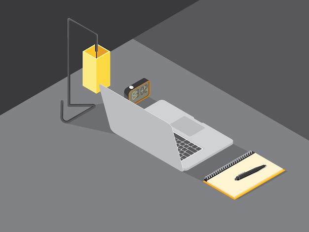 Notebook afbeelding isometrisch op grijs