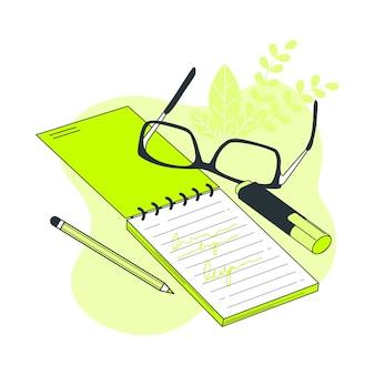 Notebook concept illustratie