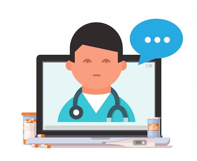 Notebook, dokter en drugs. online medisch consult concept.