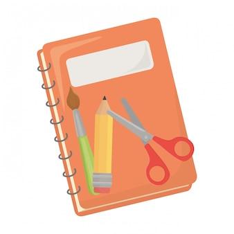 Notebook en schoolbenodigdheden ontwerp
