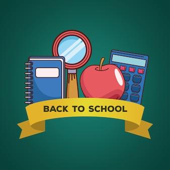 Notebook lupe appel en rekenmachine met lintontwerp, terug naar schoolonderwijsklasse en lesthema