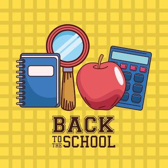 Notebook lupe appel en rekenmachine op geruit achtergrondontwerp, terug naar schoolonderwijsklasse en lesthema