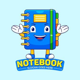 Notebook mascotte cartoon in platte ontwerpstijl