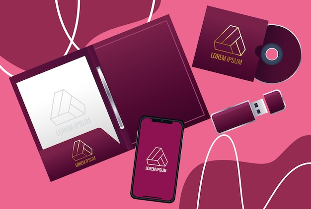 Notebook met set elementen branding illustratie