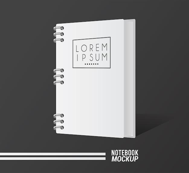 Notebook mockup kleur wit pictogram.