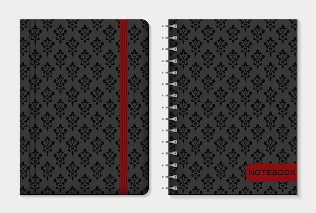 Notebook omslagontwerp met zwarte damastpatronen. vintage-stijl. instellen.