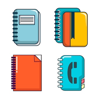 Notebook pictogramserie. beeldverhaalreeks van geïsoleerde inzameling van notitieboekje de vectorpictogrammen