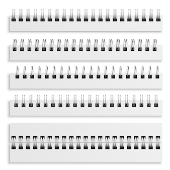 Notebook spiraalbindbladen. realistische ijzeren bedrade spiralen set, dagboek kalender of leerboek metalen ring draad mockup sjabloon, 3d-vector geïsoleerde illustratie collectie