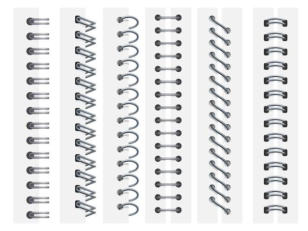 Notebook spiralen. ringen binden notitieboekjes pagina's, spiraal bevestigingsvellen en schetsboek bindingen ring 3d illustratie set