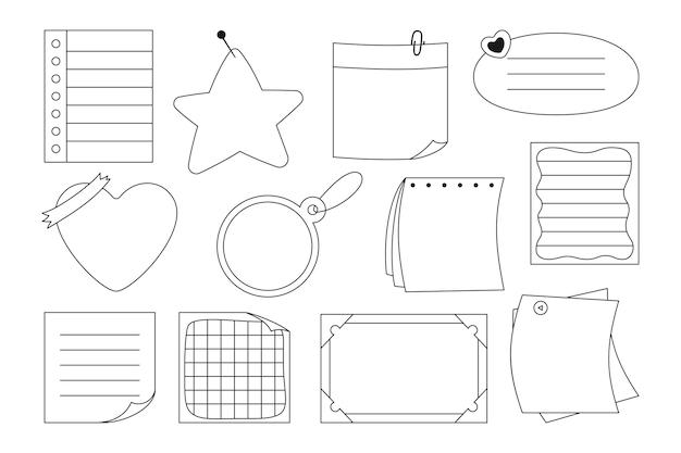 Notebookpapier plaknotitie set sticker notitieblok pin
