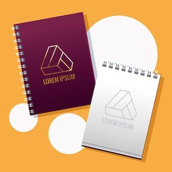Notebooks met driehoekige emblemen branding illustratie