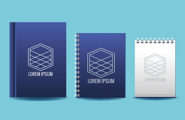 Notebooks met kubussen emblemen branding illustratie