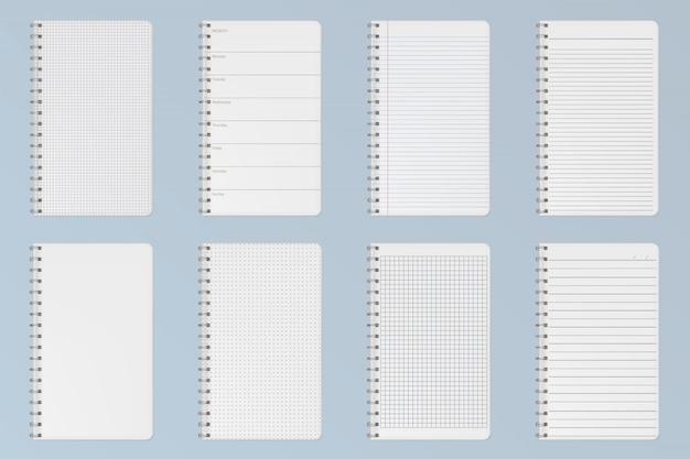 Notebooks vellen. gevoerde, geruite en puntpagina's