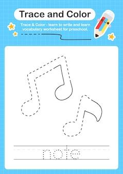 Noteer het tracé en kleur werkbladtracering voor kinderen voor het oefenen van fijne motoriek