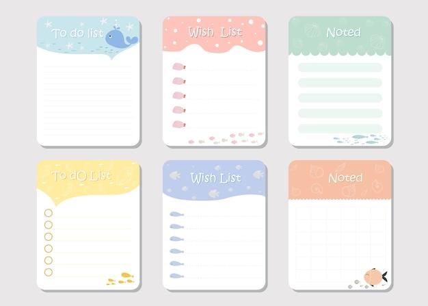 Noteer papier en takenlijst, voor notebook
