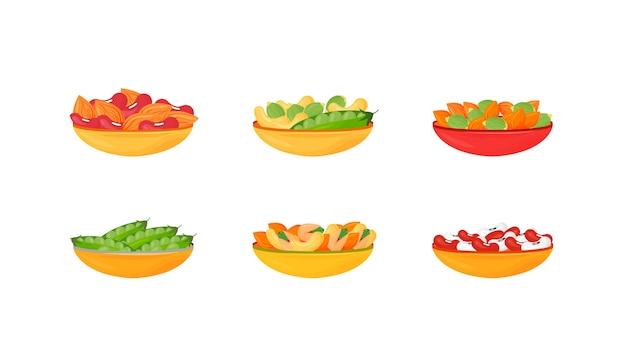 Noten en bonen en zaden in kommen cartoon illustraties instellen. pistachenoten, amandelen, erwten en cashewnoten egaal kleurobject. bronnen van proteïne.